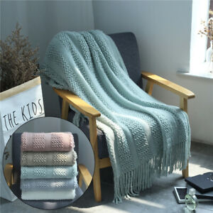 Universal Wool Woven Knit Tassel Plain Blanket Home Sofa Bed Throw Settee Covers