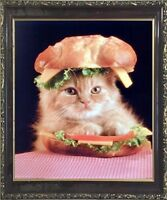 Cute Cat in a Sandwich Kitten Animal Wall Decor Mahogany Framed Picture (20x24)