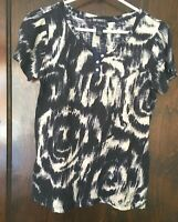 Lucky Brand Womens Sz M Knit Henley Top Navy Blue/Off White EXC