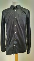 HH808 MENS SUPERDRY PREMIUM BUTTON DOWN BLACK L/SLEEVE SLIM SHIRT UK XL EU 54