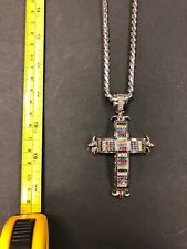 "With Cz Lined Cross Pendants Men's 14k Rhodium Color 36"" Chain"