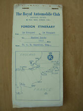 VINTAGE RAC PERSONAL FOREIGN ITINERARY ROAD MAP PARIS - BARCELONA - PARIS