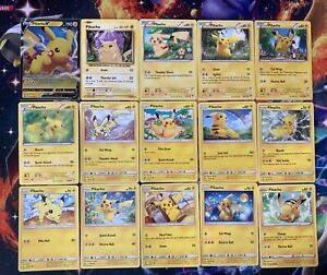 15x Pikachu Card Lot - Non-Holo with PIKACHU V PROMO // 1 of Each Pictured