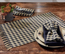 Set of 4 Park Designs Black and Tan Check Placemats - GINGHAM Primitive, Country