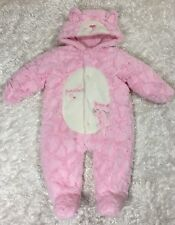 Baby Girl Size 9 months Pink Minky Snowsuit Bunting Kitty Cat Hooded Koala Baby