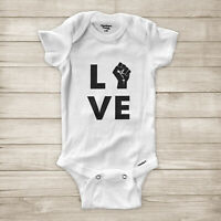 Love Black Lives Matter Raised Fist Symbol BLM Equality Baby Infant Bodysuit