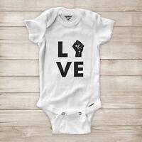 Love Black Lives Matter Raised Fist Symbol BLM Equality Baby Infant Bodysuit