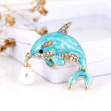 Pendant Brooch Stylish Badge Jewelry Ld Chic Ocean Style Blue Dolphin Pearl Ball
