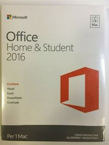 Office Home & Student 2016 Italian Retail Box for Apple Mac Computer GZA-00599