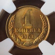 New listing Russia Ussr 1 Kopek 1963 Ngc Ms65 Gem Bu