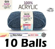 10 x Super Chunky Knitting Yarn Wool Crochet Ball 100g 3Ply Navy Brand New