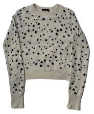 Kate Moss Equipment 100% Cashmere Sweater Womens S Ivory/Navy Stars EUC