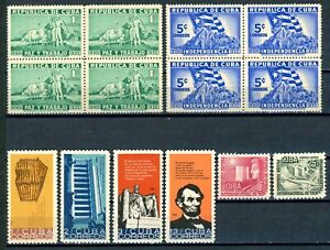 USAstamps Unused FVF USCuba Scott 332, 335, 952-955, C90-C91 OG MLH
