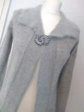 M&S Grey Lambswool Angora Wool Shrug Small Special Occasions brooch cardigan