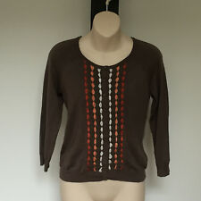 'JUMP' VGC SIZE 'S' BROWN LONG SLEEVE KNIT CARDIGAN WITH ORANGE RIBBON TRIM