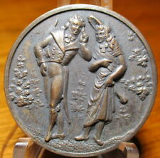 """Antique from France~ """"LADY & GENTLEMAN"""" Victorian~Vintage White Metal Button"""