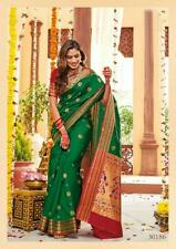 Indian BollywoodDesigner Peacock Woven ButtaPaithani Soft Silk Saree with Blouse