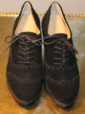 Ellen Tracy Tobin Womens Black Suede Wingtip Wedge Shoe