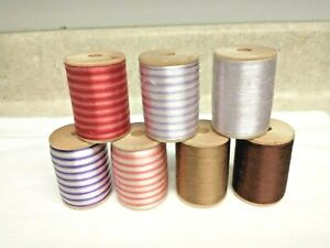 Veriegated & Solid Silk Thread Embroidery Floss Crochet Sewing 7 Wooden Spools