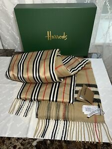 Burberry 100% Genuine Cashmere&Silk Puffer Check Scarf NEW WITH Tags RRP £590!