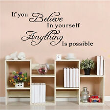 Believe Yourself Removable Vinyl Quote Home Room Wall Sticker Decal Mural Décor
