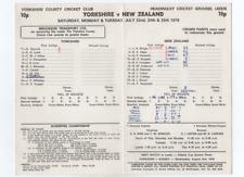 Cricket scorecard - Yorkshire v New Zealand 1978 @ Headingley