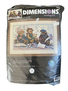 Dimensions BEARY INSPIRATIONAL #2472 Needlepoint Kit c1999 Teddy Bears