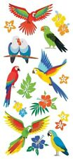 Scrapbooking Crafts Puffy Stickers Tropical Birds Parrots Colorful Flowers McCaw