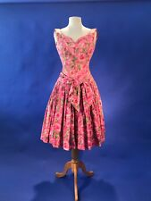 Vtg 1950s Suzy Perette Red Valentine Rose Stunning Party Dress Xs X Small Womens