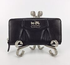 COACH Madison Black Leather Continental Zip Around Wallet Credit Card Holder