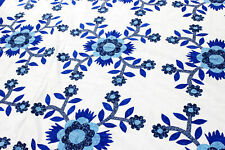 Blue & White Rose of Sharon - Floral Hand Applique QUILT TOP - Queen size
