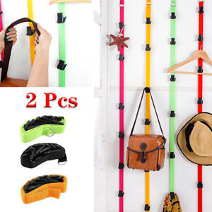 2Pcs Adjustable Over Door Straps Hanger Hook Hat Bag Storage Holder With 8 Hooks