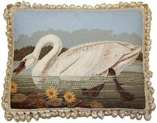 "16"" x 20"" Wool Needlepoint Pettipoint John James Audubon ""American Swan"" Pillow"