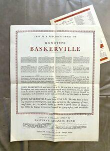 1947 Baskerville Type Specimen 17x22 Poster Eastern Paper Letterpress Font Print