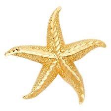 Stylish Textured Sea Star Fish 3-D Charm 30mm Real 14k Yellow Solid Gold Pendant