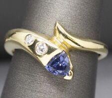 Tanzanite and Diamond Snake Bypass Design Ring 14k Yellow Gold