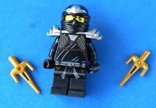 LEGO NINJAGO MINIFIGURE COLE ZX WITH 2 GOLD SAI'S