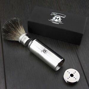Men's Travel Shaving Brush Pure Badger Hair Black Bristle Stainless Steel Handle