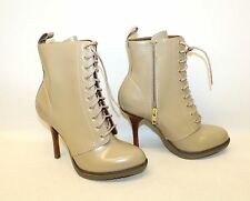 NEW DR. MARTENS Ladies Beige Leather Kimora Heeled Lace Up Ankle Boots UK4 EU37