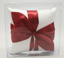 """Wedding Ring Bearer Pillow White with Red Satin Bow 7"""" x 7"""""""