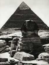 1934 Vintage 11x14 Egypt ~ Great Sphynx Of Giza Architecture Photo Art Hurlimann