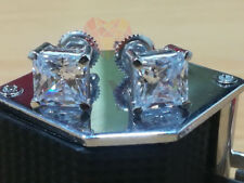 2.00 Ct White Princess Cut Solitaire Stud Mounted Earring In 14K White Gold Over