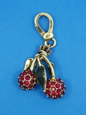 VINTAGE JUICY COUTURE ENAMEL  & RHINESTONE CHERRY CHARM KEYCHAIN