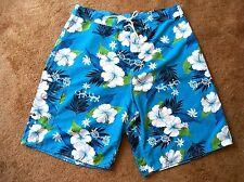 Mens Hawaiian Board Swim Surf Shorts Blue White Hibiscus MV Fashion Size 37/38