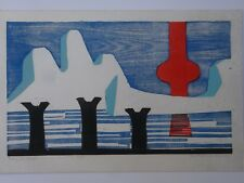 1974 DALE DEARMOND SITKA ALASKA WOODCUT PRINT BERING SEASCAPE 20/25 imp ABSTRACT