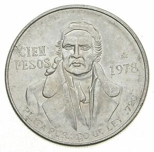 SILVER - WORLD COIN - 1978 Mexico 100 Pesos - World Silver Coin *833
