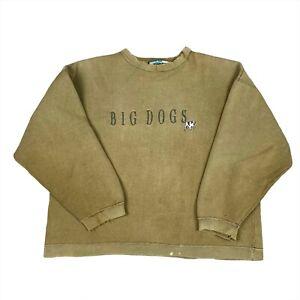 Vintage 90s Big Dogs Embroidered Sweatshirt Crewneck Brown Men's Size Large