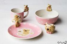 4 Pieces Girls Kids Ceramic Hand Painted Breakfast Set Bear Pink Mug Bowl Plate