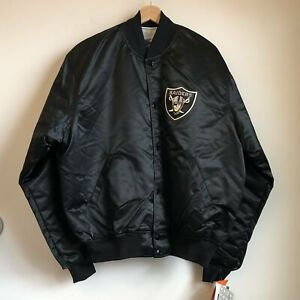 Vtg Deadstock NWT Starter Los Angeles Raiders NFL Football Black Satin Jacket XL