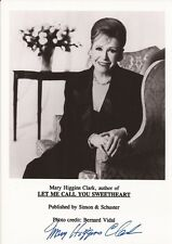 MARY HIGGINS CLARK Hand Signed 5x7 Photo - Writer - Free S/H in the US